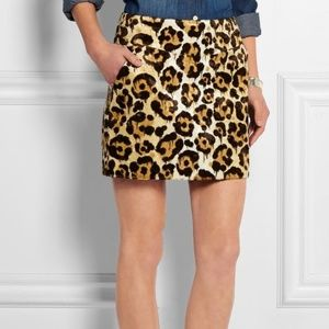 Coach Le Fauve Faux Fur Leopard Print Mini Skirt